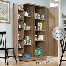 Tall Storage Kitchen Cabinet 2 Door Organizer Pantry Wood Cupboard Oak Farmhouse