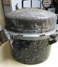 Vintage Heavy Duty BLUE GRANITE Pressure COOKER Canner Pot Pan w/Lid