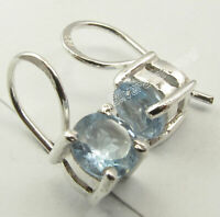 "6 x 6 mm Blue Topaz Ancient Style Dangle Earrings 0.6"" 925 Sterling Silver"