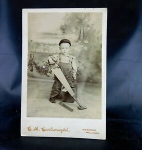 Cute 2 Year Old Boy Carpenter with His Tools - Cabinet Card Photograph