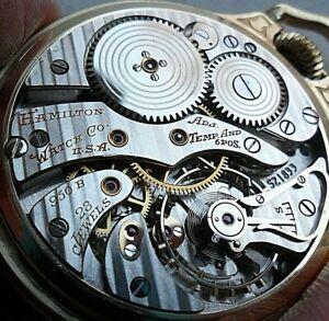 Vintage Hamilton 950B Railway Special 23J 6 Adj Pocket Watch w/ No. 17 BOC Case