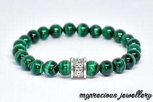 Natural Malachite Green Silver Gemstone Bracelet Elasticated Healing UK Chakra