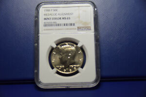 1988-P Kennedy Half Dollar medallic alignment, mint error 180 degress, NGC MS65