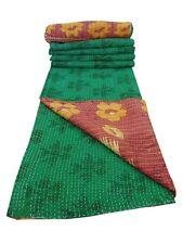 100% Coton Bio Handmade Indien Réversible Kantha Couette Gudari Décor Ethnique