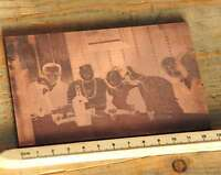 FRÖHLICHE RUNDE Galvano Druckstock Kupferklischee Druckplatte Druckerei Bleisatz