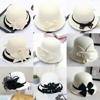 White Wool Felt Fascinator Cocktail Race Hat Festival Wedding Floral Fedoras Hat