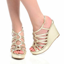 WOMEN LADIES FASHION HIGH HEEL WEDGES ANKLE STRAP PLATFORM SHOES SIZE 3-8