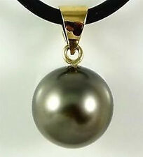 charming mysterious 14 mm black shell pearl pendant yellow gold chain AAA