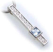 Elegant Pendant Rectangle Genuine Silver 925 Aquamarine and Zirconia Sterling