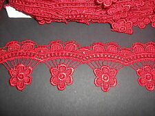 Red Venise Lace Trim 1 Metre    Sewing/Costume/Crafts
