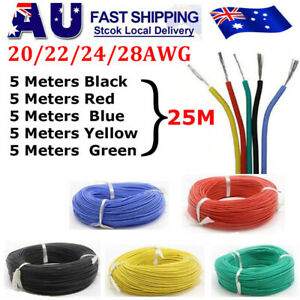 20/22/24/28 AWG 25M Flexible Silicone Wire Cable Tinned Copper Line Wire 5 Color