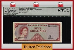 TT PK 51Ab 1960 JAMAICA 5 SHILLINGS QUEEN ELIZABETH II LCG 67 PPQ SUPERB GEM NEW