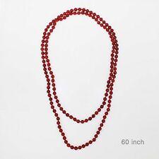 "60"" Long Red Semi Precious 8mm Stone Beaded Wrap Around Necklace"