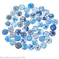 KUS:10 Mix Blau Glassteine Cabochons Klebstein Klebeperlen Glaskuppel 2cm