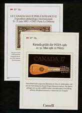 Canada International Philatelic Exhibition Cards Unitrade #1 #2 1981-2 VF Crisp