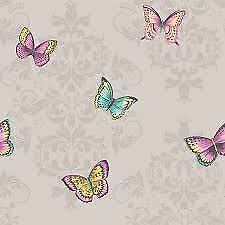 Holden Decor Glitter Butterfly Damask Grey Wallpaper 11531