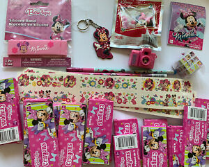 Disney Minnie Mouse Party Favors Toys Bulk Crayons Tattoos Keychain Necklace
