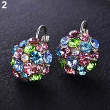 Women's  Wedding Party Colorful Zircon Silver Tone Eardrop Leverback Earrings