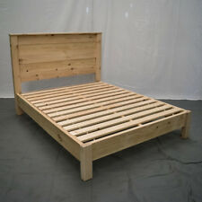 Unfinished Farmhouse Platform Bed & Headboard -Queen/Wood Platform Reclaimed Bed