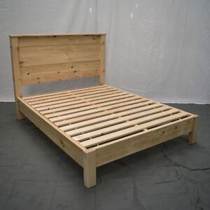 Unfinished Farmhouse Platform Bed & Headboard - King/Wood Platform Reclaimed Bed