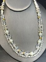 Ladies Signed Premier designs Necklace White pearl glass crystal 2 strand 18""