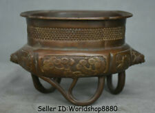"""5"""" Antique Chinese Red Bronze Dynasty Pine Tree Beast Head Incense Burner Censer"""