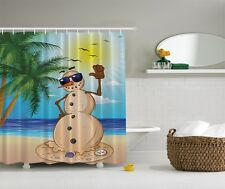 Humorous Melting Snowman Graphic Shower Curtain Tropical Island Palm Trees Decor