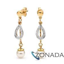 White Freshwater Pearl Diamond 9k Solid Yellow Gold Earrings