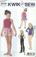 Kwik Sew 2678 Girls' Skirt, Pants & Leotards 4, 5, 6, 7   Sewing Pattern