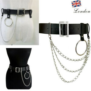 Mens Womens Punk Belt Buckle Chains Faux Leather Steam Hoops Studded Waist Strap