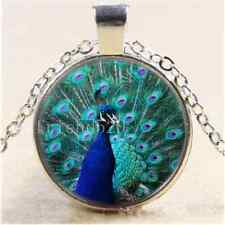 Beautiful peacock Photo Cabochon Glass Tibet Silver Chain Pendant Necklace