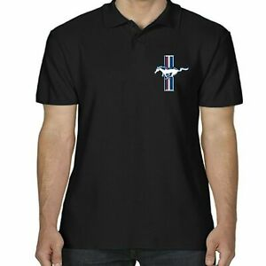 Ford Mustang Polo Shirt Licensed American Classic Vintage Muscle Car Front Logo