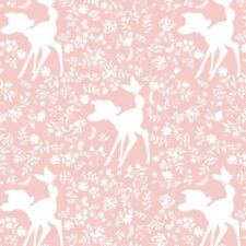 Bambi Woodland Forest Dreams Rose Quartz Silhouette Cotton Fabric By The Yard