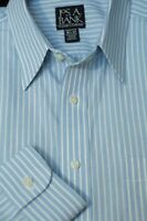 Jos A Bank Men's Traveler's Light Blue White Stripe Cotton Dress Shirt 16.5 x 33