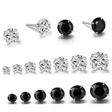 925 Silver Round Clear Black Cubic Zirconia Earrings Ear Studs Women Men 2mm-8mm