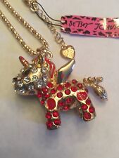 Betsey Johnson Red Lovely Bowknot Tail Unicorn W-MOVABLE PARTS Necklace-BJ10609
