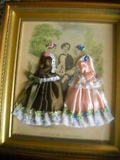 Cadre la mode illustree gravure et Tissu sous cadre Magasin des Demoiselles
