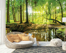 Wall Mural Photo Wallpaper Picture EASY-INSTALL Fleece Sunny Forest Trees Stream