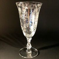"""CAMBRIDGE GLASS ETCHED FOOTED TUMBLER ELAINE PATTERN # 3121 7"""" VINTAGE"""