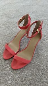$150 Ann Taylor Coral Pink Leather Ankle Strap Buckle Heel Sandals Shoes 7.5