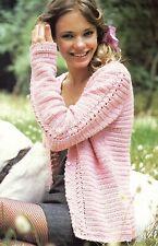 "Crochet Pattern - Ladies V-Neck Cardigan/Jacket 6 sizes (32""-42"" bust) A0155"