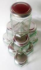 60 x 8oz 190ml Hex preservare esagonale barattolo di vetro marmellata Miele Chutney Coperchi Argento