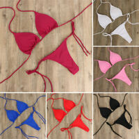 Women Summer Beachwear Sexy Micro Bikini Set Tie Side G-String Thong Swimsuit