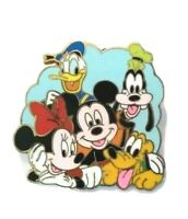 Disney Pin Button Mickey and Minnie Mouse Goofy Pluto Donald Duck Cast 2003