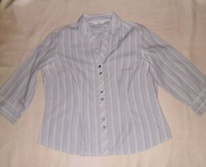 M&S Teal and Grey Striped Blouse Size 14