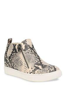 Time & Tru Women's Sneaker Wedge Faux Snake Skin Flat Zip-Up Shoes 8 9 WIDE
