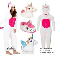 Unicorn Ladies Or Girls 3D Hooded Slippers Or Fleece All in One Make Gift Set