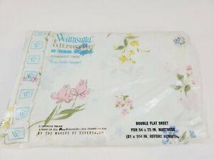 Vtg Wamsutta Ultracale Double Flat Sheet Flower NOS Permanent Press Flirtation