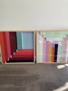 2x WEST ELM MARGO SELBY COLOUR BLOCK LAQUER WALL ART MID CENTURY NEW