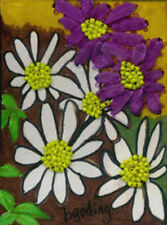 "ACEO  Original ""Daisy"" - Ribbon, Beads & Prismacolor Pen by  Beverly Goding"